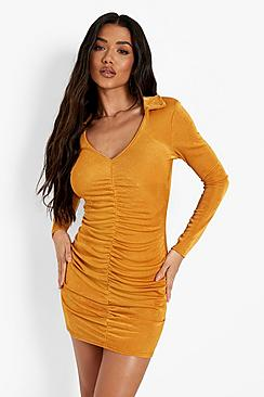 Slinky Rouched Front Long Sleeve Mini Dress