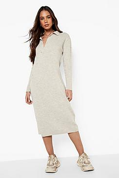Se  Asymmetric Button Knitted Midi Dress ved Boohoo.com
