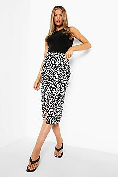 Button Front Woven Floral Print Midi Skirt