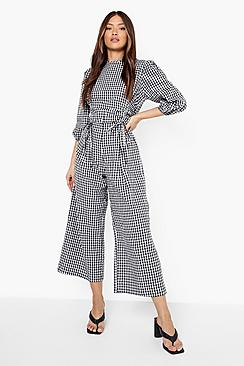 Gingham Rouched Culotte Jumpsuit