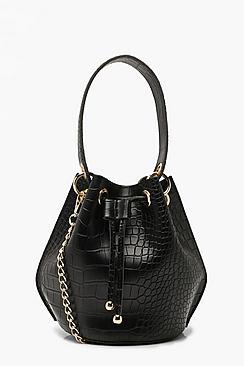 Handle Detail Croc Cross Body Bag