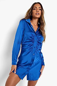 Satin Ruched Long Sleeve Shirt Dress
