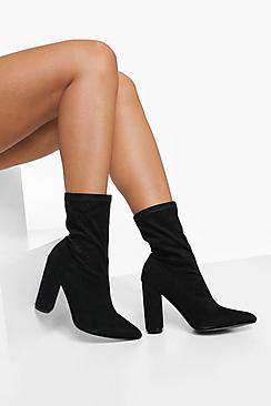 Wide Fit Block Heel Pointed Toe Sock Boot