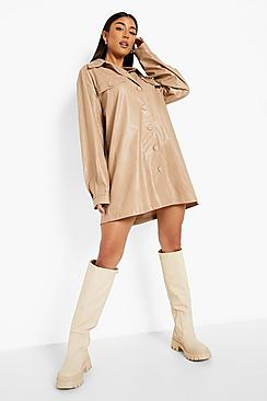 Pu Oversized Pocket Detail Shirt Dress